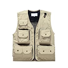 Small-laly Outdoor Multi-pocket Breathable Mesh River Fly Fishing Vest Photography Beige L