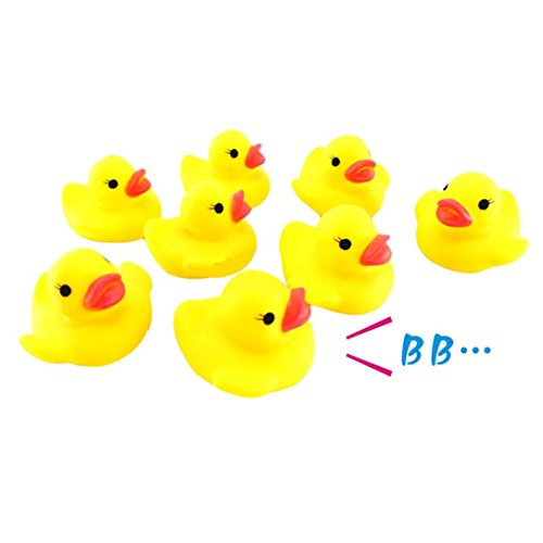 Sefter Hand Relief Toys, 10PC Squeezing Call Rubber Duck Ducky Duckie Baby Shower Birthday Favors (Yellow)