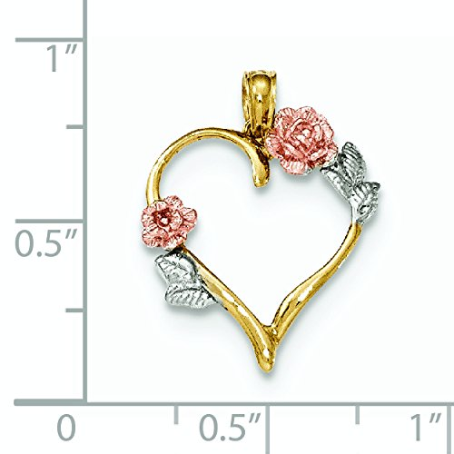 14carats et rhodium Poli-Pendentif Fleurs avec feuilles-16