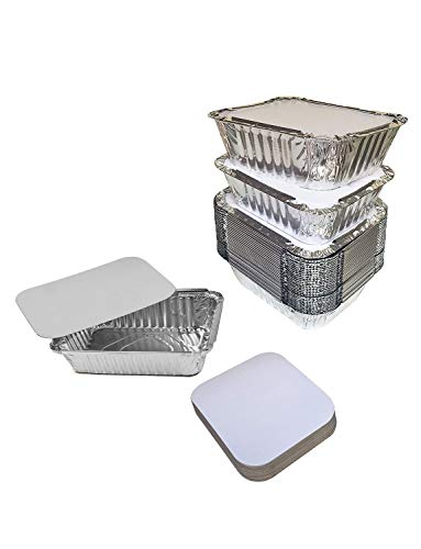 Gorse 60 PACK Disposable Aluminum Foil Pans with Lids Take Out Pans for Baking, Cooking, Storing and Freezing–Small Size 6.5 x 5.1 x 1.8