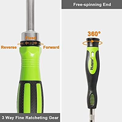 Huepar 65 in 1 Precision Screwdriver Ratchet Set Includes Slotted/Phillips/Torx and More Bits, Sockets and Extension Bars-Professional Repair Tool Kit for iPhone, Computer, Watch, Glasses, Electronics
