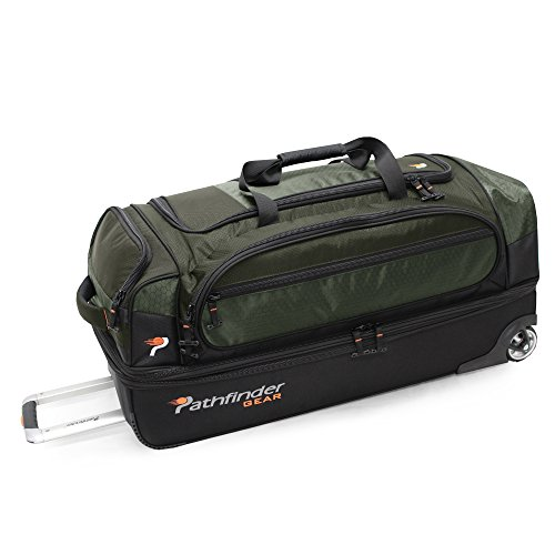 Heavy Duty Luggage - Pathfinder Gear 32 Inch Rolling Drop Bottom Duffel, Olive, One Size