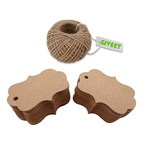 Giveet 100 PCS Kraft Paper Gift Tags with Free Cut String, Candy Box Favor Hang Tags, Christmas Favor Party Supply Blank Cards with 30M Jute Twine (Brown, 7x5cm)