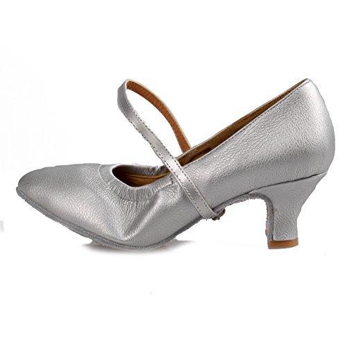 Samba Ballroom Cuir Salsa 5003 Danse De Souliers 1920's Hroyl Argent Pour Shoes Femmes Modle Dance Jazz Latin wqv8nHF