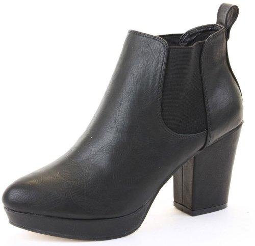 Ladies Womens High Heel Platform Chelsea Ankle Boots Size shoeFashionista Style B Black Matt
