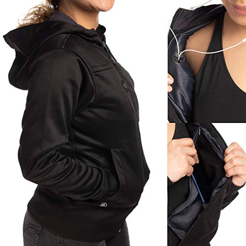 (Stormtech Softshell Jacket with Hood Warm Ladies Winter Coat Cute Hoodies for Women Zip Up Black)