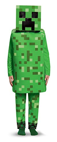 The Creeper Minecraft Costume (Creeper Deluxe Minecraft Costume, Green, Small (4-6))