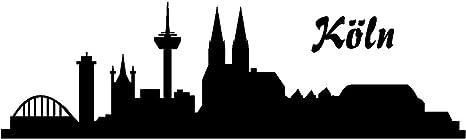 Samunshi Autoaufkleber Köln Aufkleber Skyline In 8 Größen Und 25 Farben 20x5 9cm Schwarz Auto