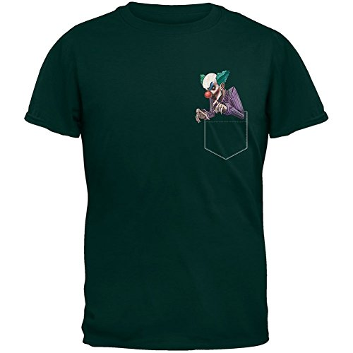 Faux Pocket Halloween Horror Scary Clown Forest Green Adult T-Shirt - (Green Clown Outfit)