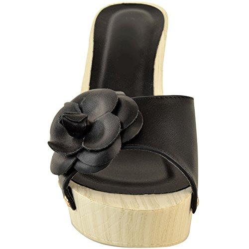 Deslizan Negro Thirsty Zuecos Talla Fashion Verano Plataforma Bajo Heelberry Piel Mujer Sintética Tacón Vacaciones Sandalias Madera tpZZx8q