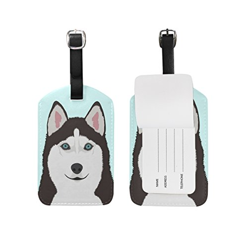 My Daily Siberian Husky Dog Luggage Tag PU Leather Bag Tag Travel Suitcases ID Identifier Baggage Label 1 Piece