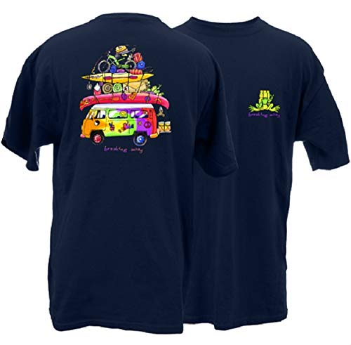 Peace Frogs Loaded Van Frog Adult Short Sleeve T-Shirt (Navy, Large)