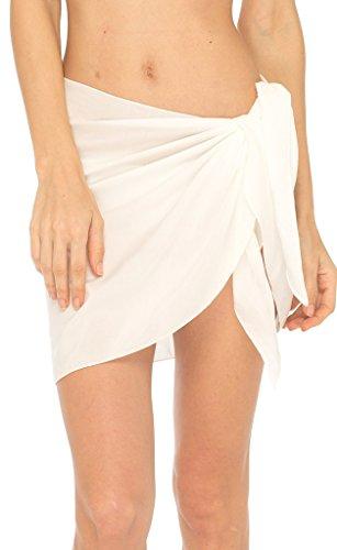 SHU-SHI Womens Mini Sarong Swimwear Bikini Cover Up Pareo Wrap Off White