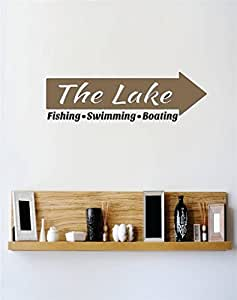 Design with Vinyl RE 2 C 2287 The Lake Fishing Swimming Boating Image Quote Vinyl Wall Decal Sticker, 16 x 32""