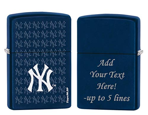 Navy Matte Lighter - Zippo Personalized Message Engraved on Backside New York NY Baseball Yankees MLB Windproof Navy Matte Zippo Lighter