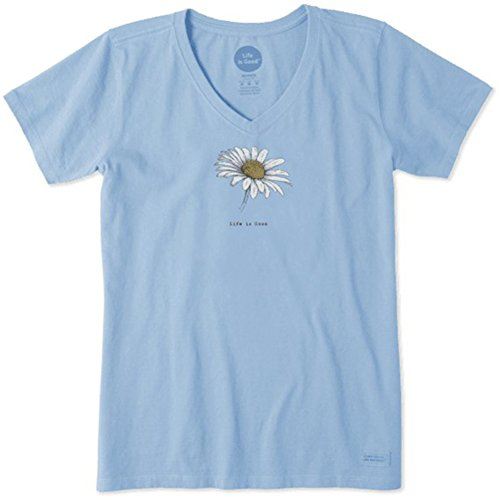 T-shirt Sleeve Washed Short Garment (Life is Good Women's Beautiful Daisy Crusher V-Neck T-Shirt, Powder Blue, L)