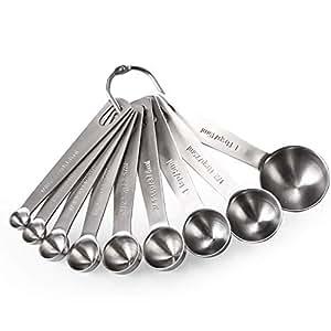 Measuring Spoons: U-Taste 18/8 Stainless Steel Measuring Spoons Set of 9 Piece: 1/16 TSP, 1/8 TSP, 1/4 TSP, 1/3 TSP, 1/2 TSP, 3/4 TSP, 1 TSP, 1/2 tbsp & 1 tbsp Dry and Liquid Ingredients