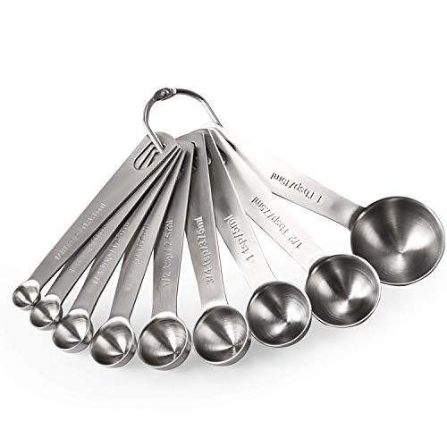 Measuring Spoons: U-Taste 18/8 Stainless Steel Measuring Spoons Set of 9 Piece: 1/16 tsp, 1/8 tsp, 1/4 tsp, 1/3 tsp, 1/2 tsp, 3/4 tsp, 1 tsp, 1/2 tbsp & 1 tbsp Dry and Liquid Ingredients