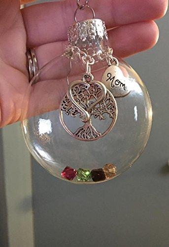 Custom Glass Puffed Flat Ornament Tree Of Life, Heart,Mom Charm, Swarovski Birthstone Children Family Crystals, Mom Mother