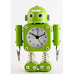 Creative Robot Alarm Clock Mute Clock Message Clips Home Decorative Clock Toy Gift by Superjune (Green)