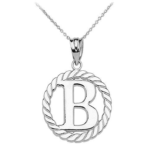 """Collier Femme Pendentif 14 Ct Or Blanc """"B"""" Initiale À Corde Cercle (Livré avec une 45cm Chaîne)"""
