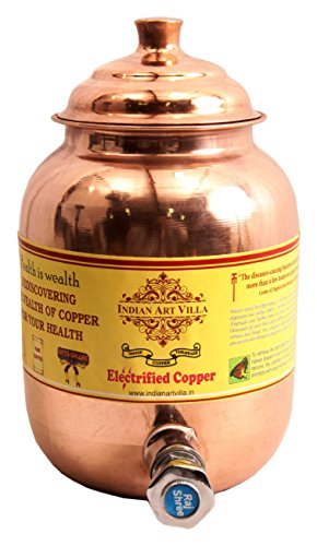 IndianArtVilla Handmade Pure Copper Water Dispenser | 51 OZ Healthy and different | Storage Vessel with Health Benefits. (Water Dispenser Art Brush compare prices)