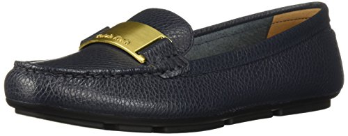 Calvin Klein Women's Lisette Loafer Flat, Navy Tumbled Leather, 10 Medium US (Tumbled Navy Leather)