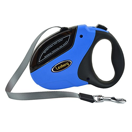 Retractable Dog Leash, Walking Medium Large Breed Long 16ft Nylon Ribbon Heavy Duty Tangle Free Dog Cord up to 110 Ibs, One Button Break & Lock, Soft Grip Handle (Blue) by Lesberg