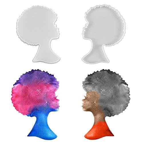 2 Moldes de Silicona para Resina para hacer Mujer Africana