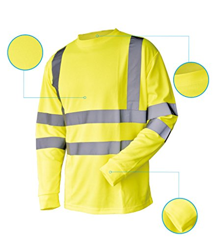 L&M Hi Vis T Shirt ANSI Class 3 Reflective Safety Lime Orange Short Long Sleeve HIGH Visibility (3XL, Lime_L) by L&M