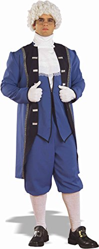 [Colonial Costume George Washington Town Crier Adult Std Blue Jacket Coat Knicker] (Town Crier Costumes)