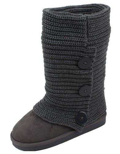 Sunville Women's Faux Suede Boot with Rib-knit Sweater (C...