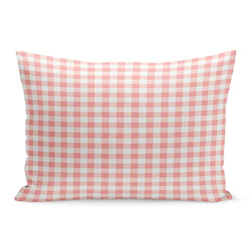 Aikul Throw Pillow Cover Checkered Rose Pink White Gingham Check Plaid Classic Pillow Case Cushion Cover Lumbar Pillowcase Decoration for Couch Sofa Bed Car, Standard Size 20 x 26 - Pink Comforter Gingham