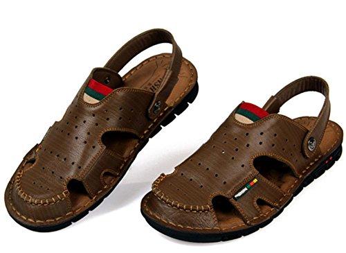Nueva llegada de cuero suave sandalias de playa para los hombres, hecho a mano de cuero genuino zapatos de verano masculino, Retro costura zapatillas de los clásicos para los hombres 3