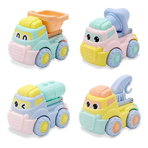 Lydaz Friction Powered Cars Push and Go Construction Truck Vehicles Toys for Baby Toddlers Kids Boys Girls 1 2 3 Year Old(Set of 4)