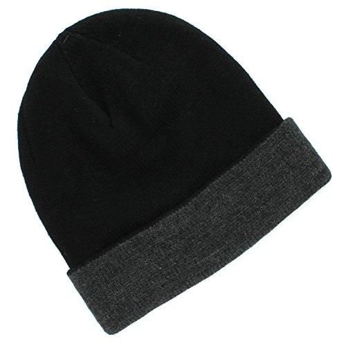 Van Heusen Black Gray Winter Beanie Watch Hat for Men - One -