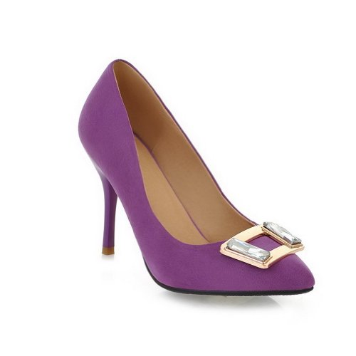 VogueZone009 Womans Closed Pointed Toe High Heel Spikes Stilettos Suede Frosted Solid Pumps with Zircon Square Buckle, Purple, 3.5 UK
