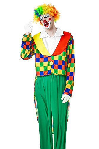 [Adult Men Big Top Clown Costume Circus Suit Comedian Cosplay Entertainer Clothes (Medium/Large, Multicolor, White)] (Circus Themed Costumes For Men)