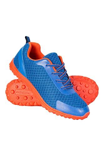 Mountain Warehouse Lightweight Kids el Peso Ligero Embroma a amaestradores - Los Zapatos de Los Niños Superiores del Sintético y del Acoplamiento, Zapatillas de Deporte Cobalto