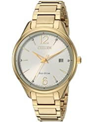Citizen Womens Eco-Drive Quartz Stainless Steel Dress Watch, Color:Gold-Toned (Model: FE6102-53A)