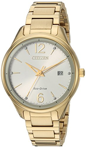 - Citizen Women's 'Eco-Drive' Quartz Stainless Steel Dress Watch, Color:Gold-Toned (Model: FE6102-53A)