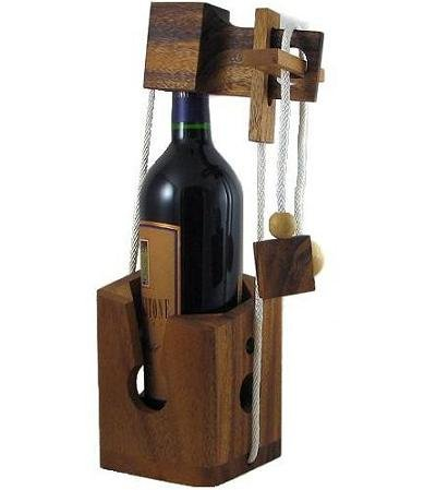 Think-n-Drink Fun Wine Bottle Challenge Puzzle Game Wooden Brain Teaser Gift for Adults