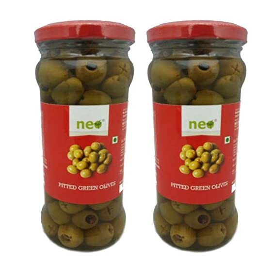 Neo Foods Pitted Green Olives, 360 Grams - Pack of 12