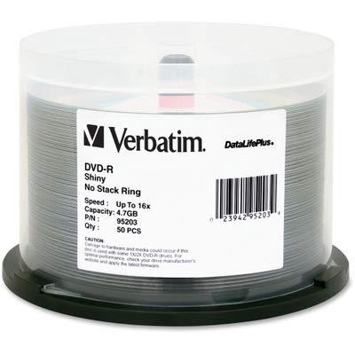 Verbatim DVD-R, 95203, 4.7GB, 16X, DataLifePlus Shiny Silver, 50PK Spindle, TAA [Non - Retail Packaged] by Verbatim B00UW3CAOE