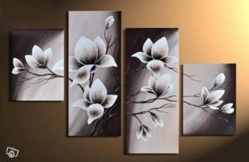 Wieco Art - Large Elegant Blooming Flowers 4 Piece Modern 100% Hand Painted Gallery Wrapped Floral Oil Paintings Artwork on Canvas Wall Art for Living Room Bedroom Home Decorations