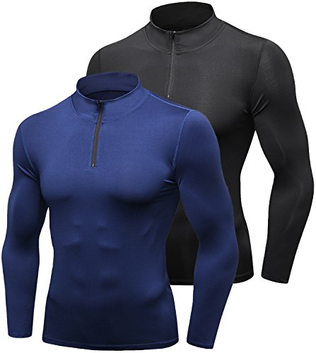 2 Neck Shirt Zip (Lavento Men's Compression Shirts Zip Mock Long-sleeve Performance T-Shirts(Large,2 Pack-9004 Black/Navy blue))