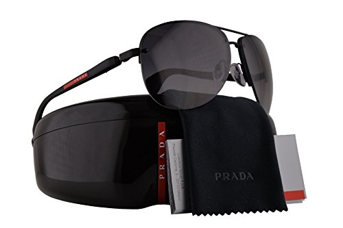 Prada PS56MS Sunglasses Black Rubber w/Polarized Grey Gradient Lens 65mm DG05W1 SPS56M PS 56MS SPS - Clooney Sunglasses
