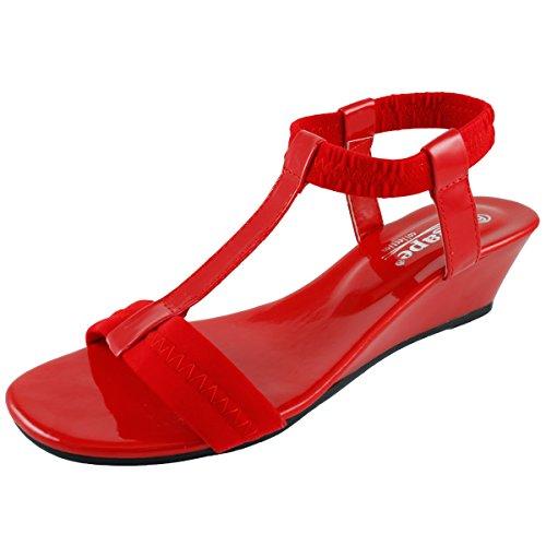 Agape Image-69 Sandalo Con Zeppa T-strap Rosso