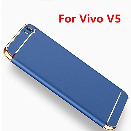 check out 8cfe8 20836 Aeetz® V5 Back Cover, Vivo V5 Case Blue Colour, Ultra-Thin 3in1  Electroplate Metal Texture Hard Plastic Back Case Cover for Vivo V5 / V5s /  Y67 - ...