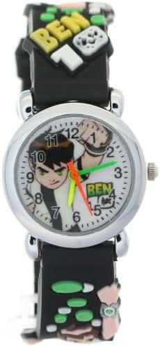 TimerMall OEM Circle Dial Black Strap Quartz Cartoon Watches Ben 10 Toy Line Theme